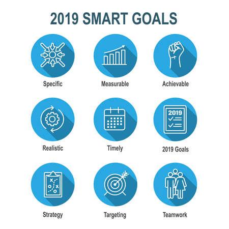 2019 SMART Goals Vektorgrafik mit verschiedenen Smart Goal-Schlüsselwörtern