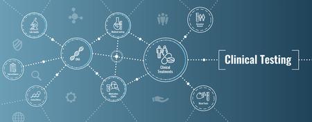 Icônes de soins de santé avec des personnes représentant une maladie ou une bannière d'en-tête Web de découverte scientifique