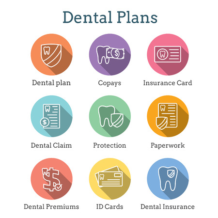 Dental Insurance Outline Icon Set with tooth image
