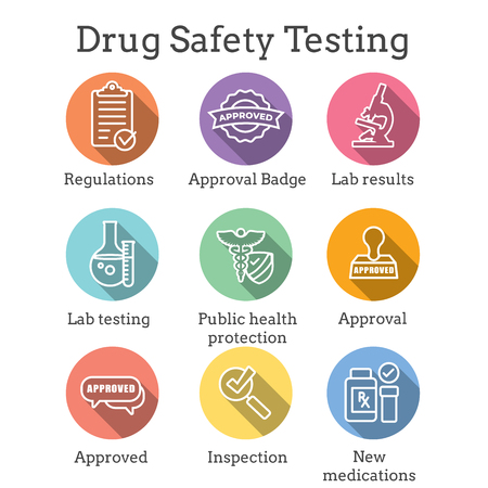 Drug Testing and Safety Icon Set Vector Graphic w Rounded Edges 写真素材 - 113541814