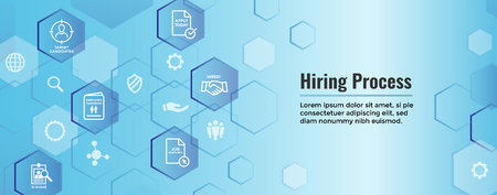 New Employee Hiring Process icon set w Web Header Banner