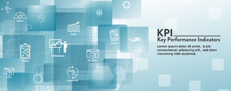 KPI w Key Performance Indicators Web Header Banner and Icon set