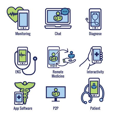 Abstrakcyjny pomysł telemedycyny - ikony ilustrujące zdalne zdrowie i oprogramowanie