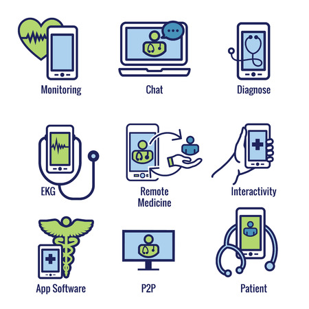 Telemedicine abstract idea - icons illustrating remote health and software Çizim