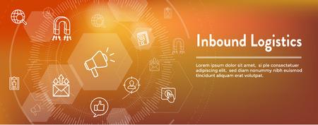 Digitales Inbound-Marketing-Webbanner mit Vektorsymbolen - CTA, Wachstum, SEO, etc.