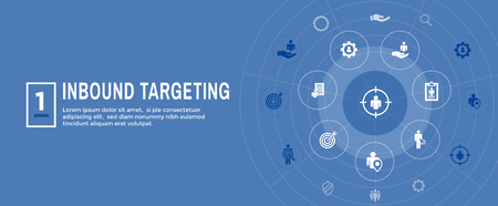 Digital Inbound Marketing  & Targeting Web Banner with Vector Icon Set Ilustrace