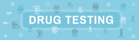 Drug Testing & Process Web Header Banner with Icon Set 写真素材 - 112993063