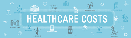 Healthcare costs Icon Set and Web Header Banner - expenses showing concept of expensive health care