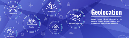 Geo Location Targeting w GPS Positioning and Geolocation Icon Set web Header Banner Illustration