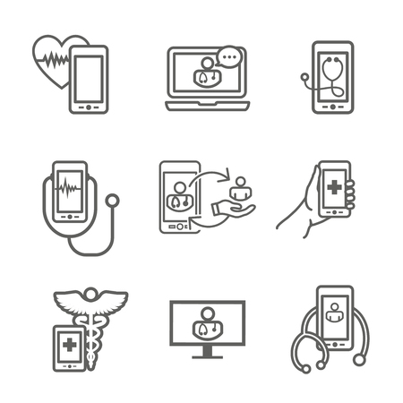 Telemedicine abstract idea - icons illustrating remote health and software Vettoriali