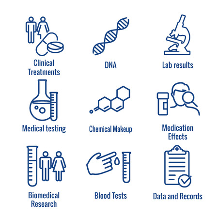Medical Healthcare Icons - People Charting Disease ou Scientific Discovery New Employee Embauche Process icon set