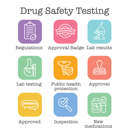 Drug Testing and Safety Icon Set Vector Graphic w Rounded Edges Banque d'images - 112993148