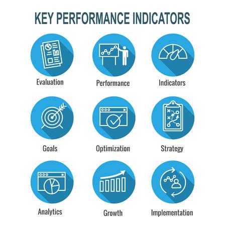 KPI: conjunto de iconos de indicadores clave de rendimiento con evaluación, crecimiento y estrategia, etc.