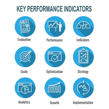 KPI - Key Performance Indicators Icon set with Evaluation, Growth, & Strategy, etc