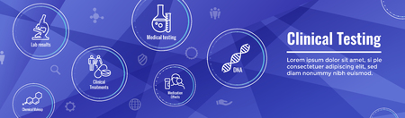 Medical Healthcare Icons with People Charting Disease or Scientific Discovery Web Header Banner Vettoriali