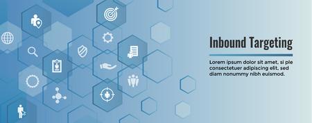 Digital Inbound Marketing & Targeting Web Banner with Vector Icon Set
