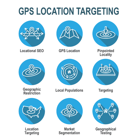 Geo Location Targeting - GPS Positioning and Geolocation Icon Set Illustration