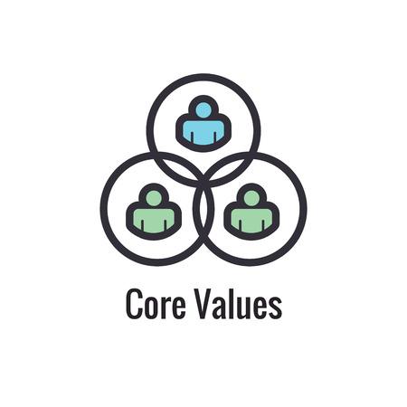 Core Values Outline - Line Icon Conveying Specific Purpose Vecteurs