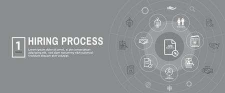 New Employee Hiring Process icon set w Web Header Banner Stok Fotoğraf - 113541859
