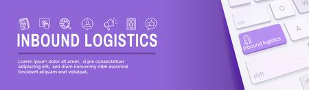 Banner web de marketing entrante digital con iconos vectoriales: CTA, crecimiento, SEO, etc. Ilustración de vector