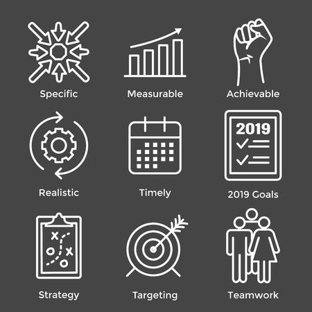 Graphique vectoriel des objectifs SMART 2019 avec divers mots-clés d'objectifs intelligents