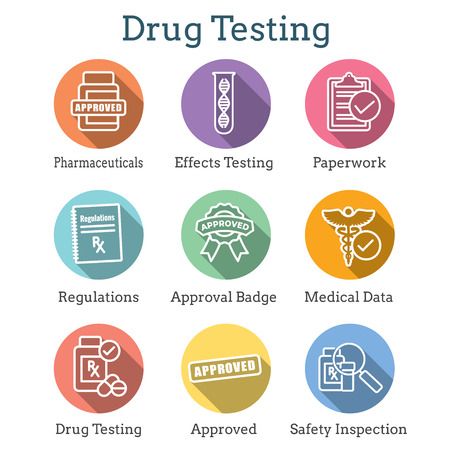 Drug Testing and Safety Icon Set Vector Graphic w Rounded Edges 写真素材 - 114376512