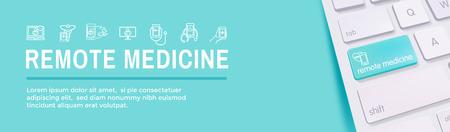 Idea astratta di telemedicina - icone che illustrano la salute e il software remoti