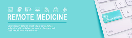 Telemedicine abstract idea - icons illustrating remote health and software Ilustrace