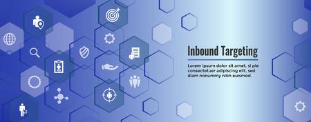 Digital Inbound Marketing  & Targeting Web Banner with Vector Icon Set Reklamní fotografie - 114376524