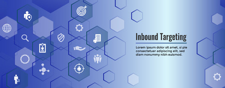 Digital Inbound Marketing  & Targeting Web Banner with Vector Icon Set Illustration