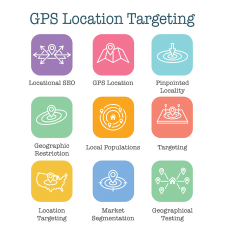 Geo Location Targeting - GPS Positioning and Geolocation Icon Set Ilustração