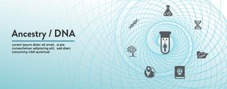 Icône d'ascendance / généalogie avec bannière d'en-tête Web Album d'arbre généalogique et jeu d'icônes