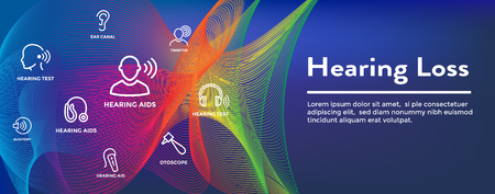 Hearing Aid or loss Web Header Banner w Sound Wave Images Set