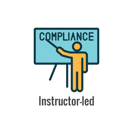 Compliance Instruction & Testing Icons with Instructor teaching Worker Students Stok Fotoğraf - 114389364