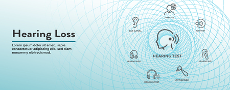 Hearing Aid or loss Web Header Banner w Sound Wave Images Set Banque d'images - 114389369