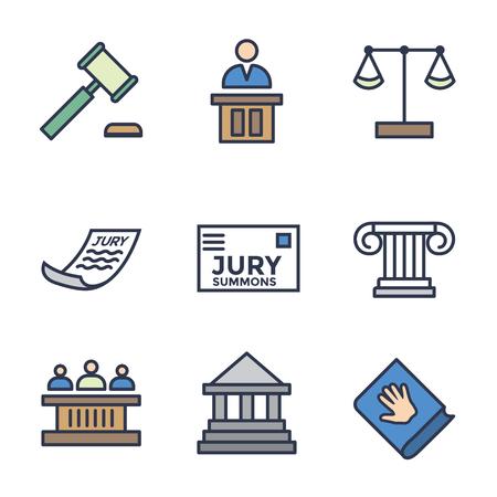 Ensemble d'icônes juridiques et juridiques avec des icônes de juge, de jury et judiciaires