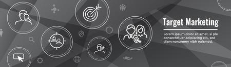 Jeu d'icônes de marketing cible - bannière d'en-tête Web Vecteurs