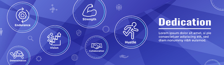 Persistence icon set w person climbing hill or mountain and persevering