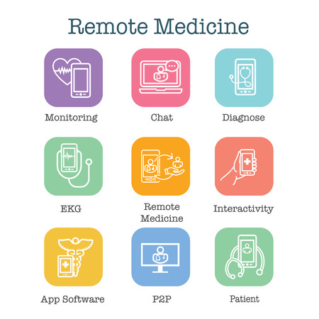 Telemedicine abstract idea - icons illustrating remote health and software Ilustração