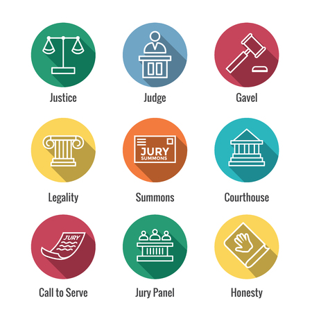 Set di icone legali e legali con icone giudice, giuria e giudiziaria Vettoriali