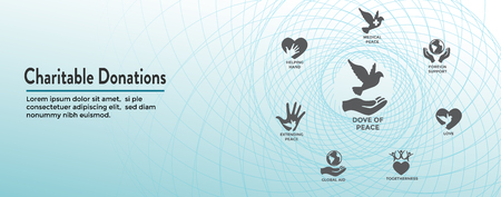 Charitable Giving and Donations Header Banner and Icon set Çizim