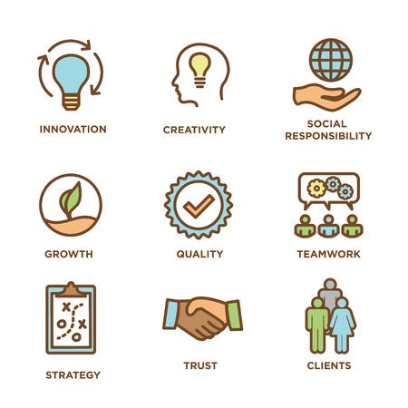 Contour des valeurs fondamentales ou icône de ligne véhiculant l'intégrité et le but Vecteurs