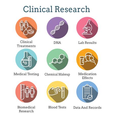 Medizinische Gesundheitssymbole - Menschen, die Krankheiten oder wissenschaftliche Entdeckungen für den Einstellungsprozess neuer Mitarbeiter darstellen