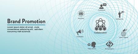 Bannière d'en-tête Web de relations publiques et ensemble d'icônes avec notoriété, stratégie et promotion de la marque Vecteurs