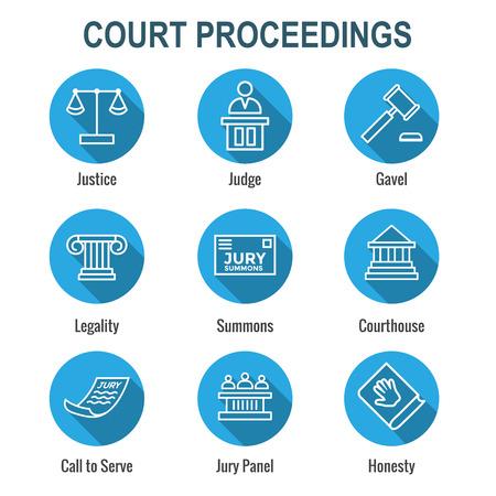 Ensemble d'icônes juridiques et juridiques avec des icônes de juge, de jury et judiciaires Vecteurs