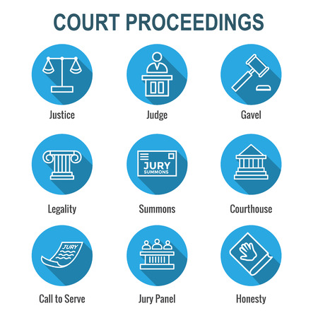 Law & Legal Icon Set with Judge, Jury, and Judicial icons Vettoriali
