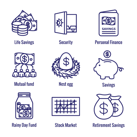 Retirement Account & Savings Icon Set - Mutual Fund, Roth IRA, etc