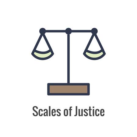 Set di icone legali e legali con icone giudice, giuria e giudiziaria