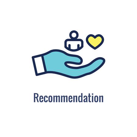 Empfehlungs-Job-Referenz-Symbol mit Empfehlungen, Leistungsüberprüfung usw