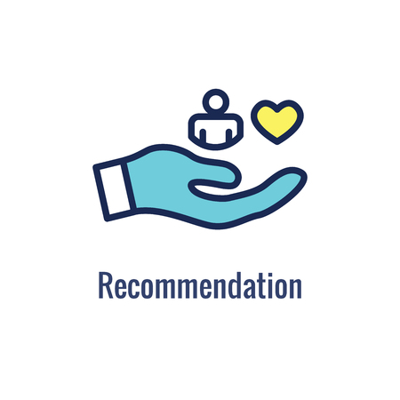 Referral Job Reference Icon  with recommendations, performance review, & etc ideas